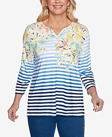 Plus Size Lazy Daisy Stripe Floral Yoke Top