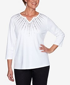 Plus Size Clean Getaway Sunburst Heat Set Yoke Top