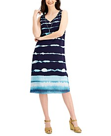 Tie-Dyed Necklace Sleeveless Dress, Created for Macy's