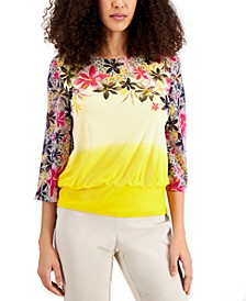 Petite Placed-Print Ombré Top, Created for Macy's