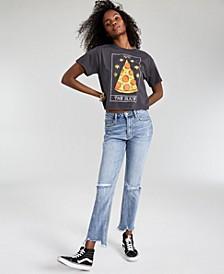 Juniors' Ripped Frayed-Hem Straight Jeans