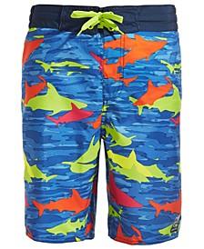 Big Boys Camo Shark-Print Board Shorts