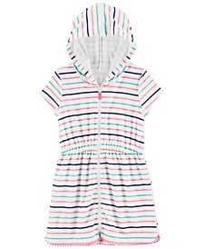 Little Girls Striped Hooded Cover Up