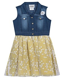 Toddler Girls Denim Vest Dress with Mesh Daisies, Set of 2