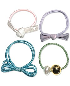 INC 4-Pc. Gold-Tone & Imitation Pearl Bow Multicolor Hair Tie Set, Created for Macy's