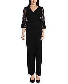 Lace-Detail Jersey Jumpsuit