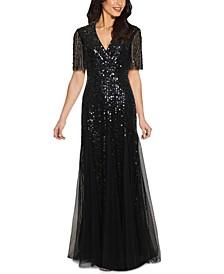 Tuxedo Sequin Gown