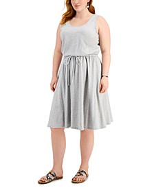 Plus Size Cotton Heathered-Knit Drawstring-Waist Dress, Created for Macy's