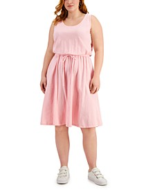 Plus Size Cotton Knit Drawstring-Waist Dress, Created for Macy's