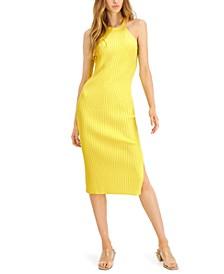 INC Halter-Neck Ribbed Midi Dress, Created for Macy's