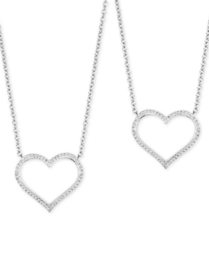 """2-Pc. Set Diamond """"Wear One Share One"""" Heart Pendant Necklaces (1/5 ct. tw) in Sterling Silver"""