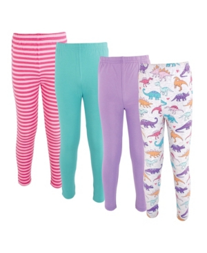 Hudson Baby BABY GIRLS COTTON PANTS AND LEGGINGS, 4 PACK