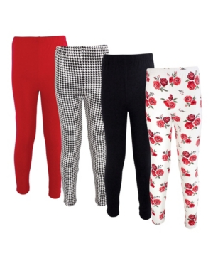 Hudson Baby Cottons BABY GIRLS COTTON PANTS AND LEGGINGS, 4 PACK