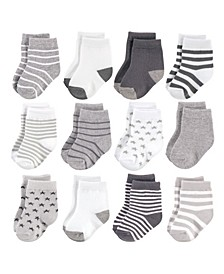 Baby Girls and Boys Cotton Rich Newborn and Terry Socks, 12 Pack