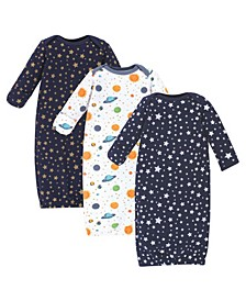 Baby Girls and Boys Quilted Cotton Gowns, 3 Pack