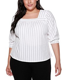 Black Label Plus Size 3/4 Blouson Sleeve Top