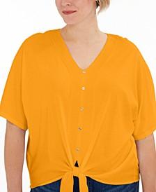 Plus Size Button-Front Tie-Hem Top
