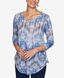 Plus Size Knit Ikat Zigzag Top