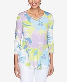 Plus Size Knit Fun Floral Top