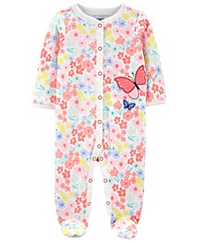 Baby Girls Butterfly Snap-Up Sleep and Play One Piece