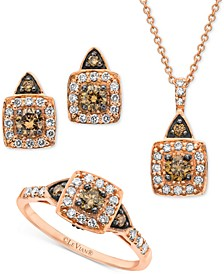 Chocolate by Petite Chocolate Diamond® & Vanilla Diamond® Square Halo Jewelry Collection in 14k Gold, White Gold & Rose Gold