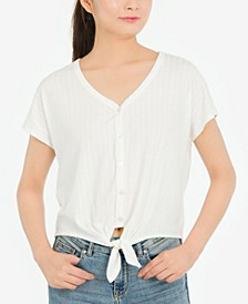 Juniors' Ribbed Tie-Waist Top