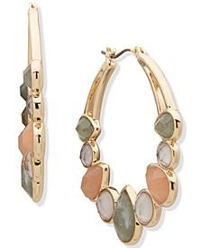 """Gold-Tone Medium Crystal, Stone & Mother-of-Pearl Hoop Earrings, 1.5"""""""