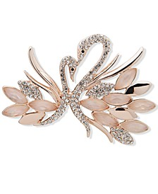 Rose Gold-Tone Pavé & Mother-of-Pearl Swan Pin