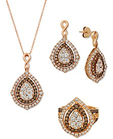 Nude Diamond™ & Chocolate Diamond® Teardrop Cluster Jewelry Collection in 14k Rose Gold
