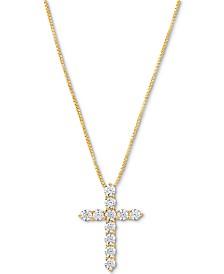"Cubic Zirconia Cross 18"" Pendant Necklace"