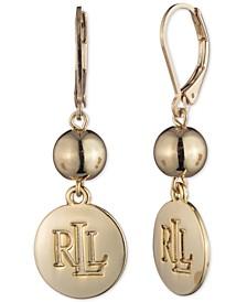 Gold-Tone Logo Double Drop Earrings