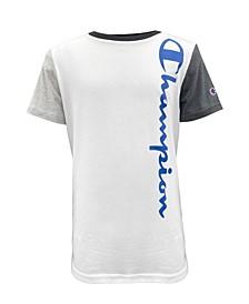Big Boys Colorblock Vertical Script Short Sleeve T-shirt
