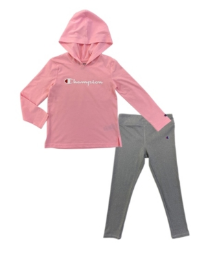 Champion TODDLER GIRLS SCRIPT HOODED JERSEY AND ESSENTIAL LEGGING SET, 2 PIECE