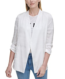 Solid Scrunch-Sleeve Collarless Blazer
