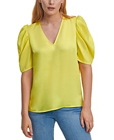 Solid V-Neck Puff-Sleeve Top