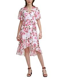Flutter-Sleeve Faux-Wrap Dress
