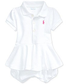 Ralph Lauren Baby Girls Peplum Bubble Cotton Sunsuit