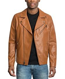 Men's Faux Leather Asymmetrical Jacket