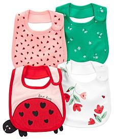 Baby Girls Ladybug Teething Bibs, Pack of 4