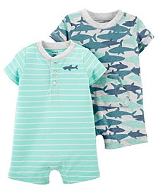 Baby Boys Sharks Snap-Up Rompers, Pack of 2