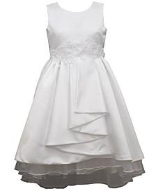 Big Girls Sleeveless Matte Satin Pleated Front Aline Dress