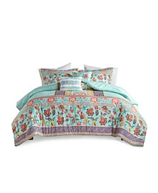 Ophelia Full/Queen Boho Printed Duvet Cover, Set of 5