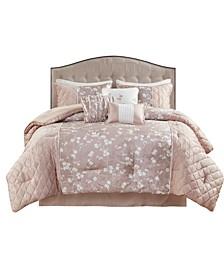 Marling California King Printed Velvet Comforter, Set of 7