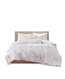 Magnolia King/California King Metallic Printed Floral Comforter, Set of 5