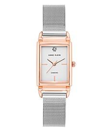 Two-Tone Stainless Steel Mesh Bracelet Watch 21mm
