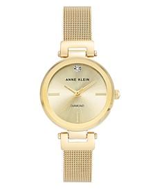 Gold-Tone Stainless Steel Mesh Bracelet Watch 30mm