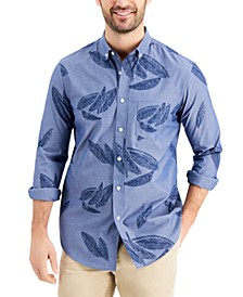 Men's Slim-Fit Leaf-Print Chambray Shirt, Created for Macy's