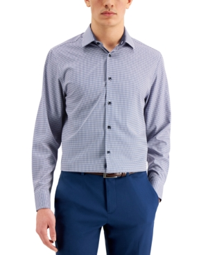 Con. Struct Men's Slim-Fit Cooling Comfort Performance Stretch Geo Dress Shirt with Pleated Face Mack