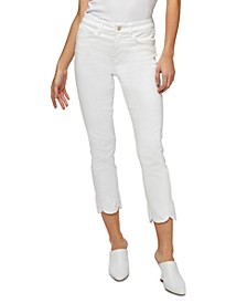 Scalloped-Hem Straight-Leg Ankle Jeans
