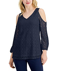 Petite Cold-Shoulder Lace Top, Created for Macy's